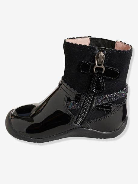 Girls' Leather Boots with Elastic on the Side BLACK DARK SOLID+RED DARK SOLID - vertbaudet enfant