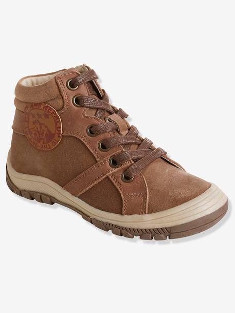 Boys' Leather Boots with Laces BROWN LIGHT SOLID - vertbaudet enfant