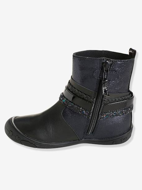 Girls' Leather Boots with Stylish Tabs BLACK DARK SOLID+PURPLE DARK SOLID - vertbaudet enfant