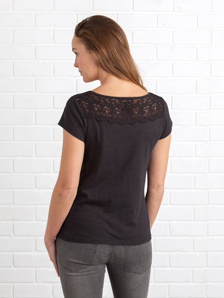 Maternity T-shirt, Embroidered on the Back BLACK DARK SOLID+GREEN DARK SOLID - vertbaudet enfant