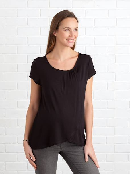 Maternity & Nursing Cross-Over T-Shirt Black+Light grey marl - vertbaudet enfant