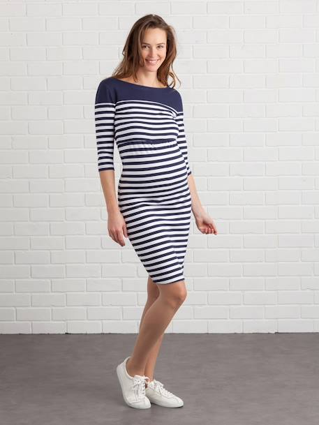 Maternity & Nursing Tube Dress BLACK DARK SOLID+BLUE DARK STRIPED+GREY LIGHT MIXED COLOR - vertbaudet enfant