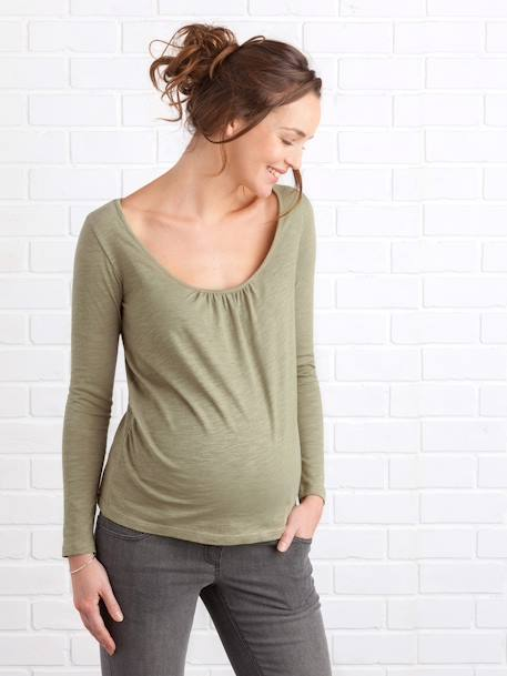 Long-Sleeved Maternity T-Shirt, Embroidered on the Back BLACK DARK SOLID+BLUE DARK SOLID+GREEN DARK SOLID - vertbaudet enfant