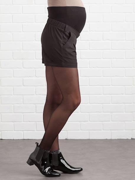 Maternity Shorts in Loose-Fitting Crepe BLACK DARK SOLID - vertbaudet enfant