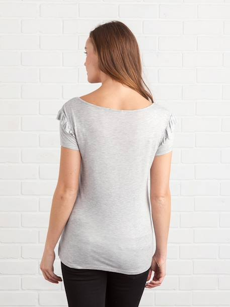 Maternity T-Shirt with Frilled Sleeves GREY LIGHT MIXED COLOR - vertbaudet enfant