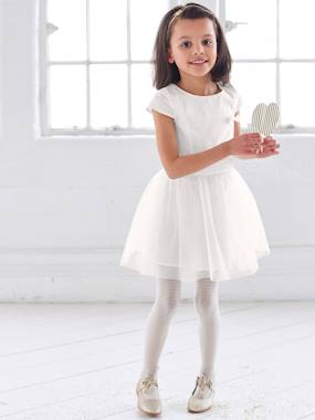 Girl-Girls' Occasion Bi-Material Dress
