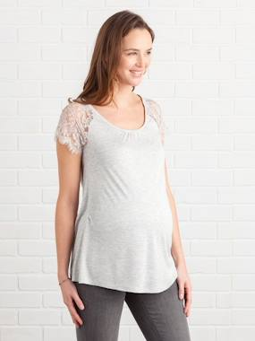 Maternity-T-shirts & Tops-Maternity T-Shirt with Lace
