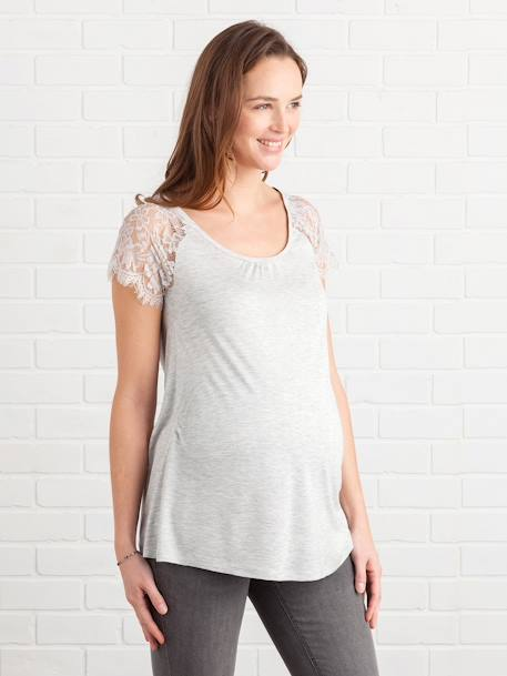 Maternity T-Shirt with Lace BLUE DARK SOLID+GREY LIGHT MIXED COLOR - vertbaudet enfant