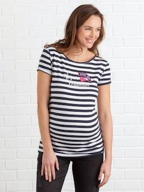 Maternity-T-shirts & Tops-Navy-Style Maternity Jumper with Badges