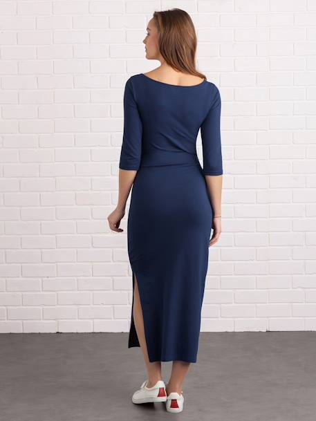 Long Maternity Tube Dress, with Slit BLUE DARK SOLID - vertbaudet enfant