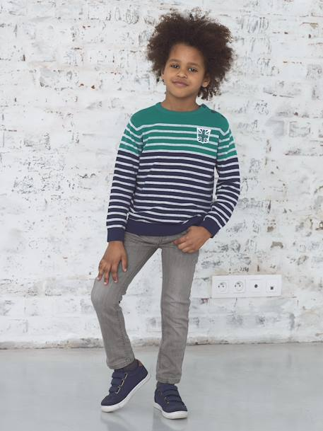 Boys' Striped Jumper BLUE DARK MIXED COLOR+WHITE LIGHT MIXED COLOR - vertbaudet enfant