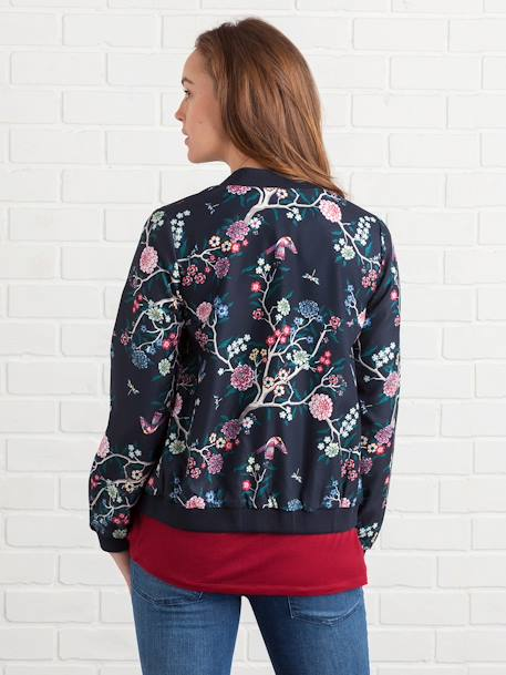 All-Over Print Maternity Bomber Jacket BLUE DARK ALL OVER PRINTED - vertbaudet enfant