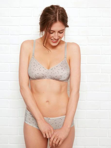 Triangle Shape Nursing Bra, Printed Velvet GREY DARK ALL OVER PRINTED+GREY LIGHT MIXED COLOR - vertbaudet enfant