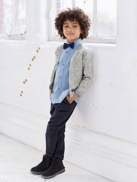 Boys' Poplin Chinos with Belt BLUE DARK SOLID+BLUE MEDIUM SOLID+BROWN MEDIUM SOLID+GREY DARK SOLID - vertbaudet enfant