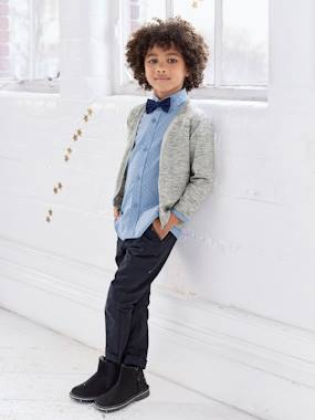 Megashop-Boys' Striped Shirt with Bow Tie