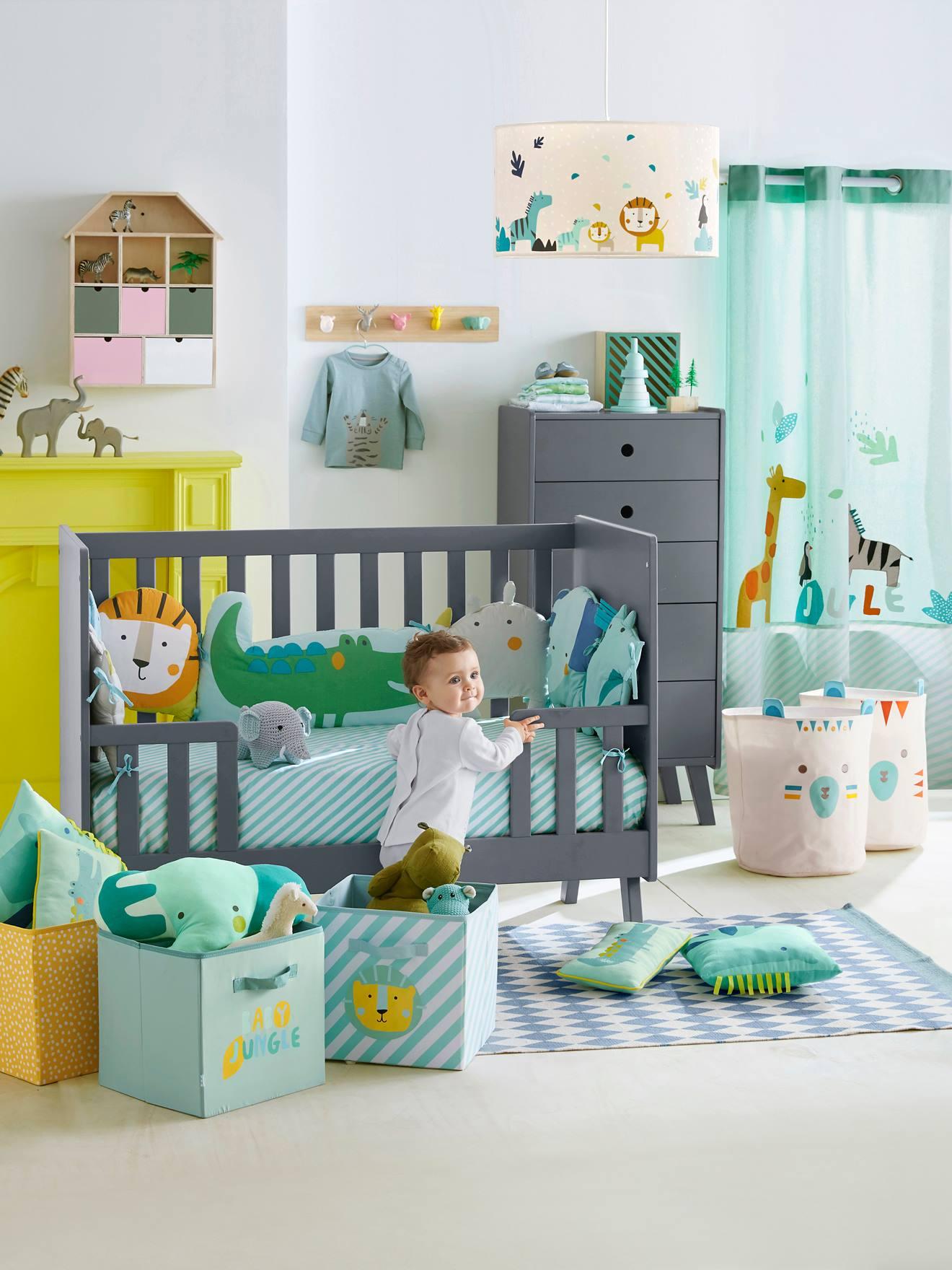 Deco Jungle Chambre Enfant rideau tamisant jungle - vert clair, linge de lit & déco