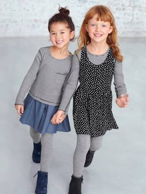 Girls-Dresses-Girls' Reversible Bi-Material Dress
