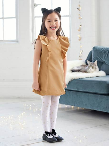 Girls' Occasion Wear Dress in Iridescent Satin BEIGE MEDIUM SOLID - vertbaudet enfant