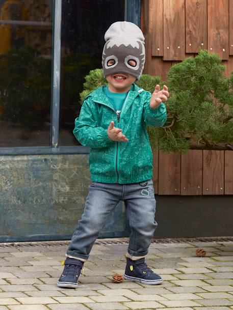 Boys' Superhero Print Beanie & Snood GREY LIGHT SOLID WITH DESIGN - vertbaudet enfant