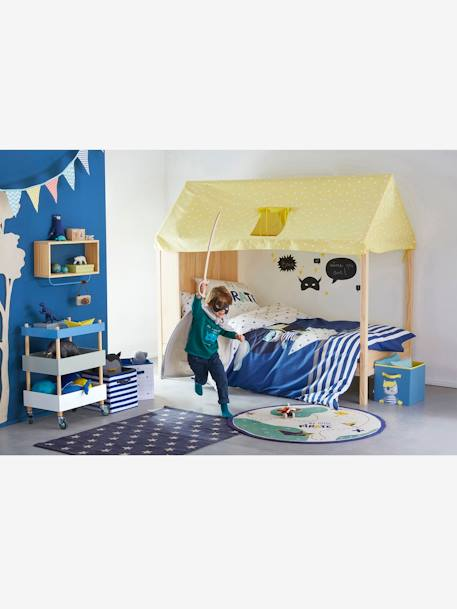 Children's Glow-in-the-Dark Duvet Cover & Pillowcase Set, Tiny Pirate Theme BLUE DARK SOLID WITH DESIGN - vertbaudet enfant