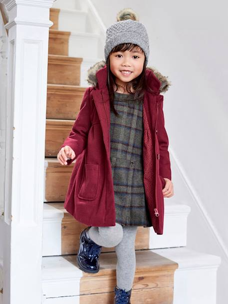 Girls' Wool Coat BLUE DARK ALL OVER PRINTED+RED DARK SOLID - vertbaudet enfant