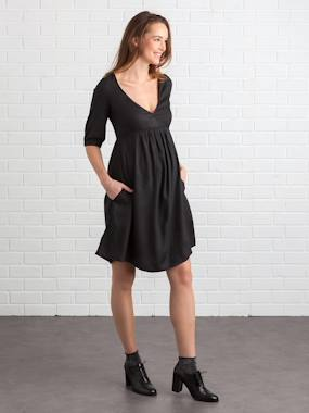 Maternity-Dresses-Wrapover Maternity & Nursing Dress