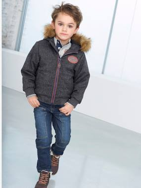 Coat & Jacket-Boys' Chambray Padded Jacket with Hood