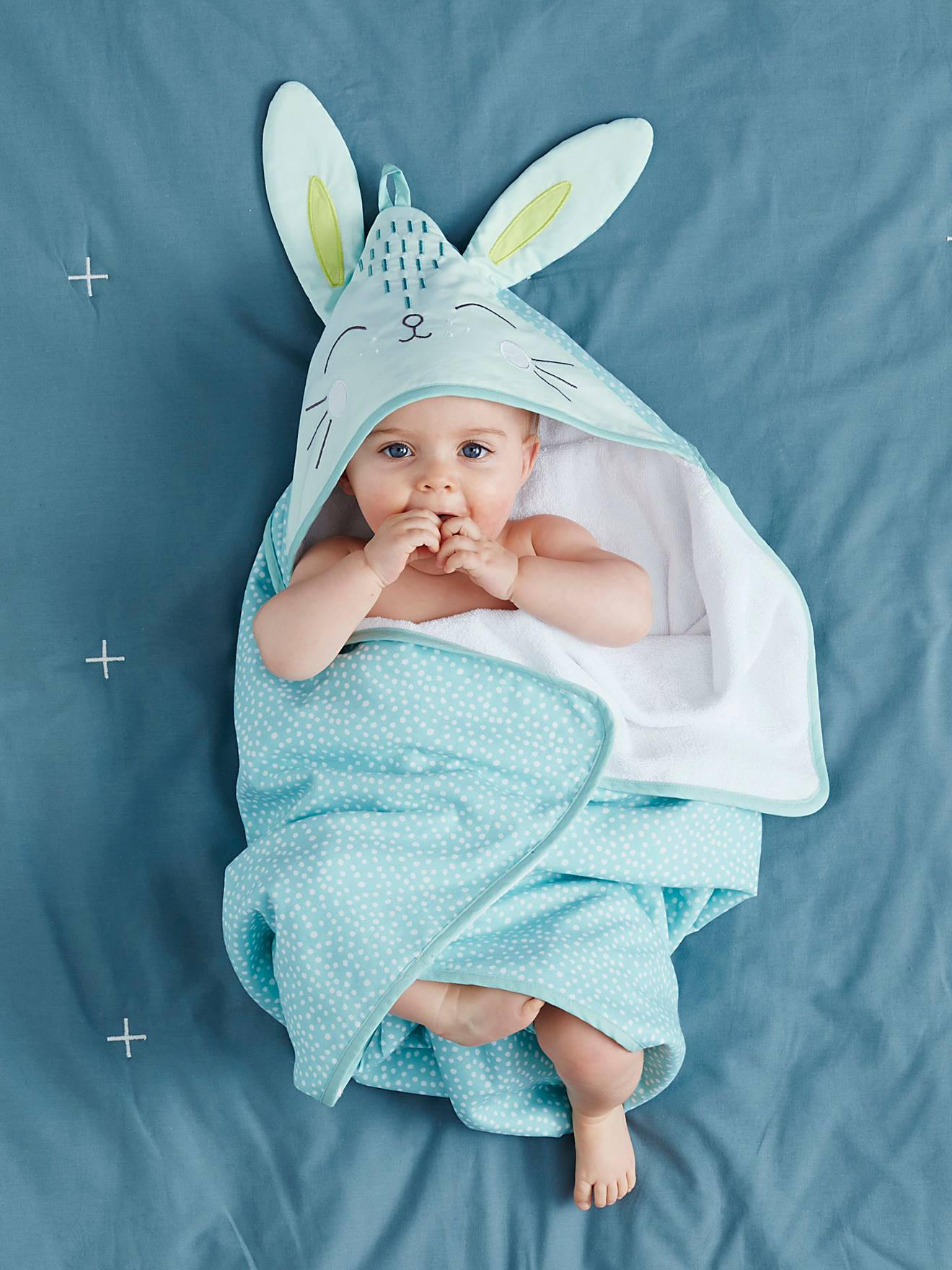 Baby Bath Cape, Bunny - green light all over printed, Bedding