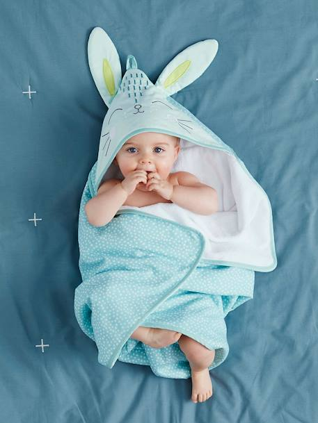Baby Bath Cape, Bunny GREEN LIGHT ALL OVER PRINTED - vertbaudet enfant