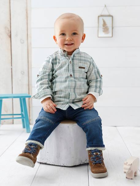 Baby Boys' Mandarin Collar Checked Shirt & Jeans Outfit Set BLUE DARK WASCHED - vertbaudet enfant