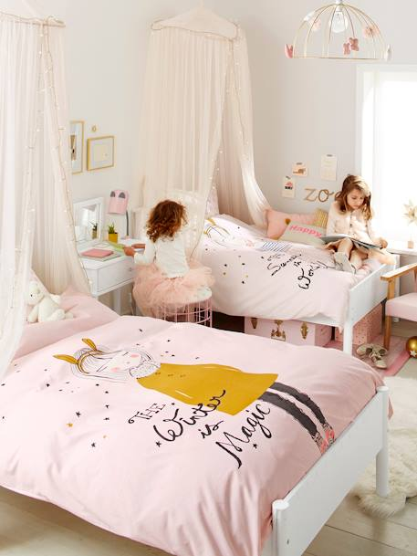 Children's Reversible Duvet Cover & Pillowcase, Princess Bunny Theme WHITE LIGHT SOLID WITH DESIGN - vertbaudet enfant