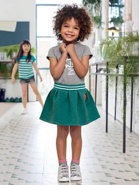 Girls-Skirts-Girls' Top stitched Fleece Skirt