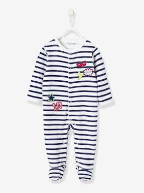 Vertbaudet Collection-Baby Velour Pyjamas, Front Press-Studs
