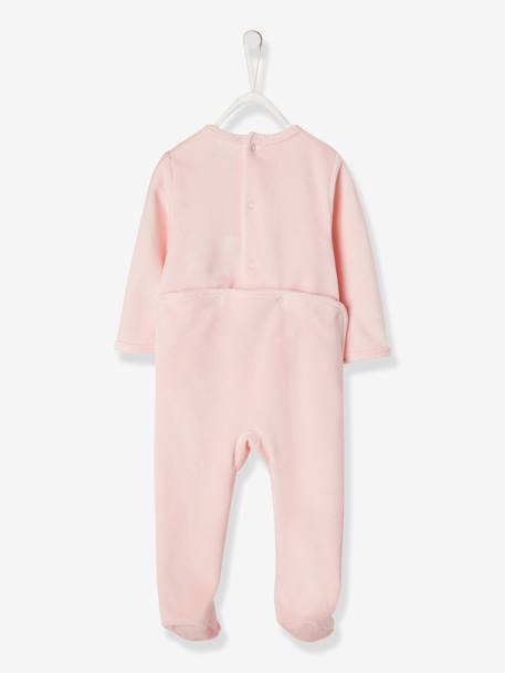 Baby Velour Pyjamas PINK LIGHT SOLID WITH DESIGN - vertbaudet enfant