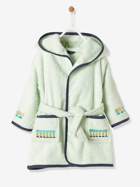 Baby Bathrobe, Owl GREEN LIGHT SOLID WITH DESIGN - vertbaudet enfant
