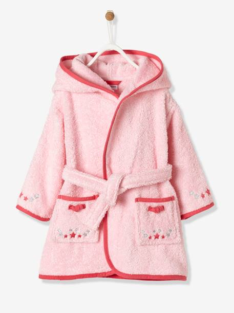 Baby Bathrobe, Little Mouse PINK LIGHT SOLID WITH DESIGN - vertbaudet enfant