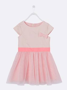 Girls-Girls' Occasion Bi-Material Dress