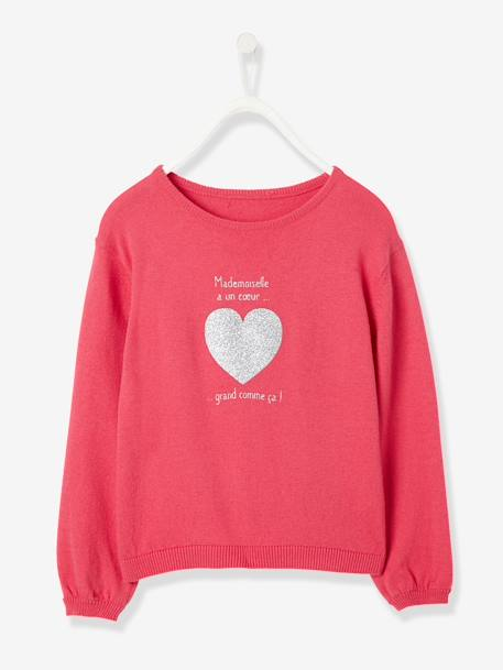 Girls' Jumper with Iridescent Detail BLUE DARK STRIPED+GREY DARK SOLID WITH DESIGN+RED LIGHT SOLID WITH DESIGN - vertbaudet enfant