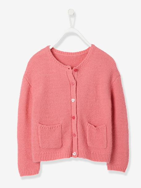Girls' Stylish Knit Cardigan GREY LIGHT MIXED COLOR+PINK MEDIUM SOLID - vertbaudet enfant