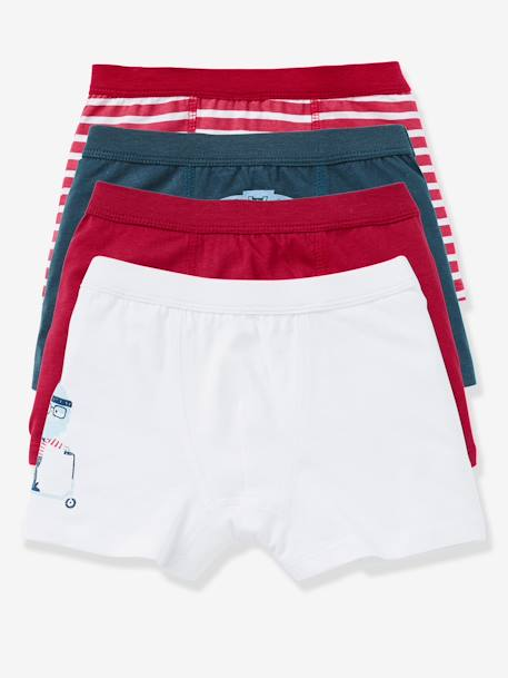 Boys' Pack of 4 Boxer Shorts BLUE MEDIUM TWO COLOR/MULTICOL+RED DARK 2 COLOR/MULTICOLOR - vertbaudet enfant