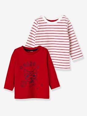 Baby-T-shirts & Roll Neck T-Shirts-Pack of 2 Baby Girls' Long-Sleeved T-Shirts
