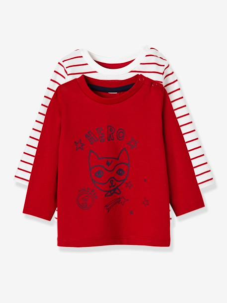 Pack of 2 Baby Girls' Long-Sleeved T-Shirts BLUE DARK TWO COLOR/MULTICOL+BROWN LIGHT 2 COLOR/MULTICOL+RED DARK STRIPED+YELLOW DARK 2 COLOR/MULTICOL - vertbaudet enfant