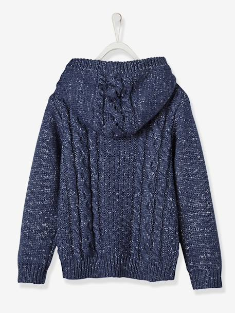Boys' Hooded Jumper BLUE DARK MIXED COLOR+GREY MEDIUM MIXED COLOR - vertbaudet enfant