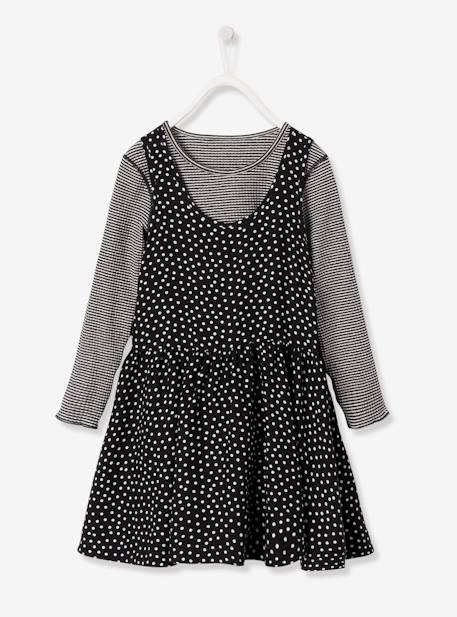 Girls' Reversible Bi-Material Dress BLACK DARK ALL OVER PRINTED+BLUE DARK ALL OVER PRINTED+PINK DARK ALL OVER PRINTED - vertbaudet enfant