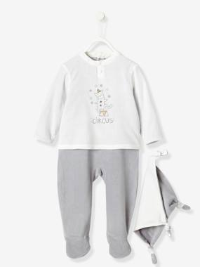 pyjama-Baby Velour & Voule Pyjama-Blouse with Back Press-Studs & Soft Toy