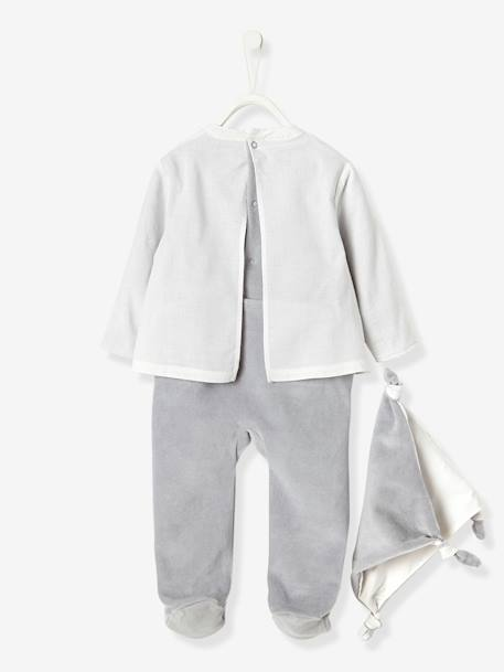 Baby Velour & Voule Pyjama-Blouse with Back Press-Studs & Soft Toy WHITE MEDIUM SOLID WITH DESIGN - vertbaudet enfant