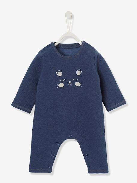 Baby Fleece Jumpsuit BLUE DARK SOLID WITH DESIGN - vertbaudet enfant