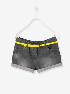 Hello Turquoise-Girls' Denim Shorts with Belt