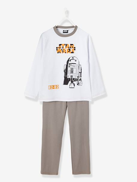 Boys' Long-Sleeved Pyjamas, R2D2 Star Wars® Theme WHITE LIGHT SOLID WITH DESIGN - vertbaudet enfant