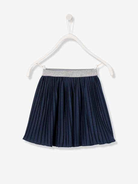 Girls' Pleated Skirt BLUE DARK SOLID - vertbaudet enfant